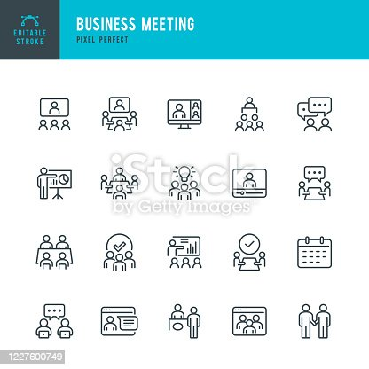 Business Meeting - thin line vector icon set. 20 linear icon. Pixel perfect. Editable outline stroke. The set contains icons: Business Meeting, Web Conference, Teamwork, Presentation, Speaker, Distant Work.