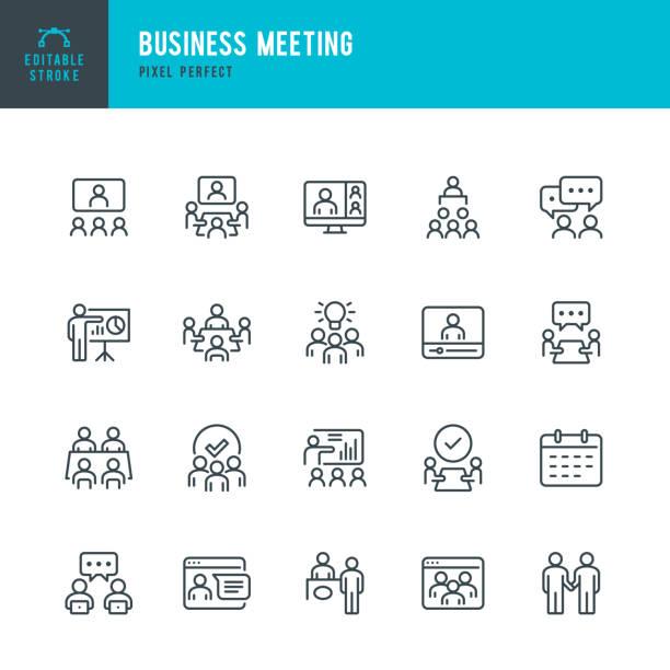 business meeting - dünnlinien-vektorsymbolgesetzt. pixel perfekt. das set enthält symbole: business meeting, web konferenz, teamwork, präsentation, sprecher, fernarbeit. - meeting stock-grafiken, -clipart, -cartoons und -symbole