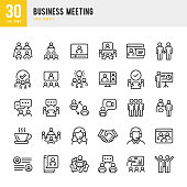 Business Meeting - thin line vector icon set. 30 linear icon. Pixel perfect. The set contains icons: Business Meeting, Web Conference, Teamwork, Presentation, Speaker, Distant Work, Group Of People.