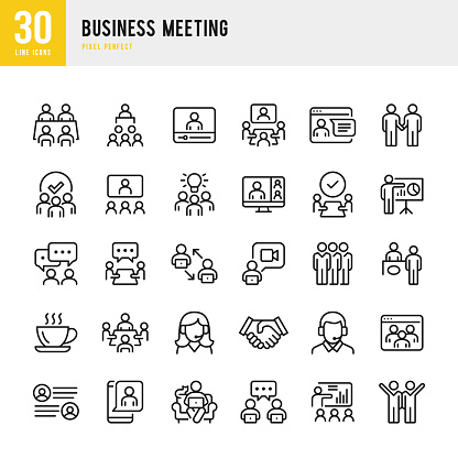 Business Meeting - thin line vector icon set. Pixel perfect. The set contains icons: Business Meeting, Web Conference, Teamwork, Presentation, Speaker, Distant Work, Group Of People.