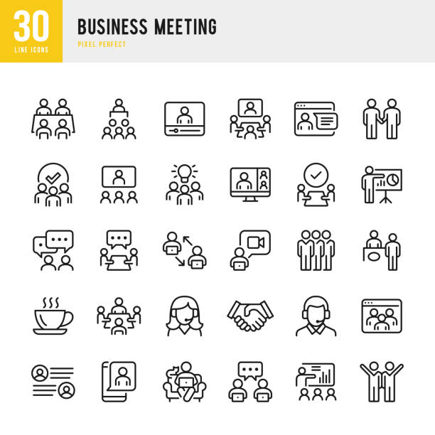 business meeting - dünnlinien-vektorsymbolgesetzt. pixel perfekt. das set enthält symbole: business meeting, web konferenz, teamwork, präsentation, sprecher, fernarbeit, gruppe von menschen. - meeting stock-grafiken, -clipart, -cartoons und -symbole