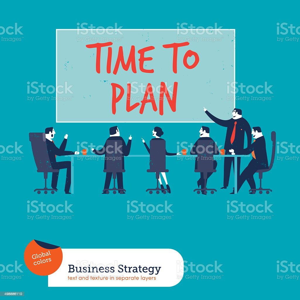 Business meeting time to plan vector art illustration
