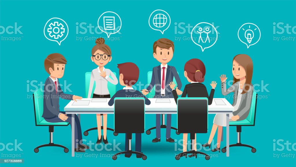 Business meeting to planing for future. Solving problems from working in the office. brainstorming group concept. vector art illustration