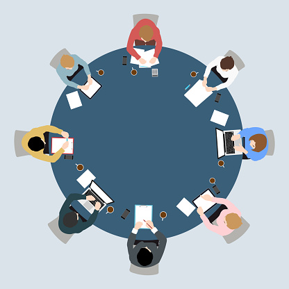 Business meeting top view on circle  table conference office team .