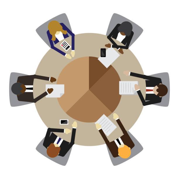 illustrazioni stock, clip art, cartoni animati e icone di tendenza di business meeting - business meeting, table view from above