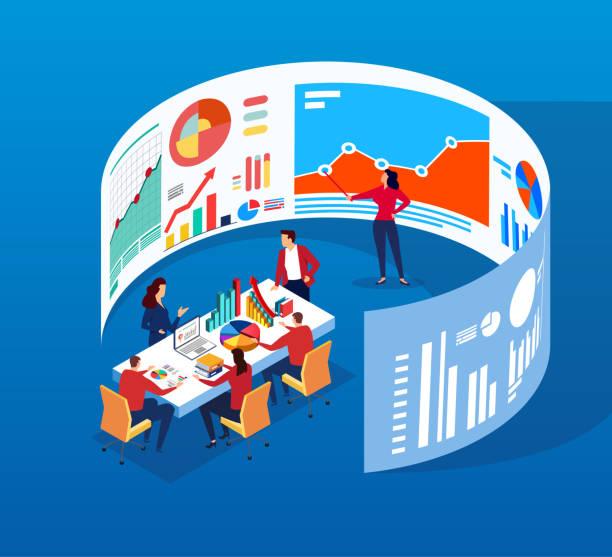 ilustraciones, imágenes clip art, dibujos animados e iconos de stock de reunión de negocios - research