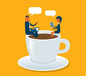 Businessman and Businesswoman sitting on cup - Illustration