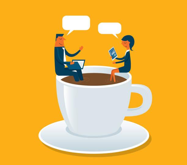 ilustrações de stock, clip art, desenhos animados e ícones de business meeting - pausa para café