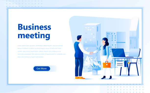 Business meeting web page design template of homepage or header vector art illustration