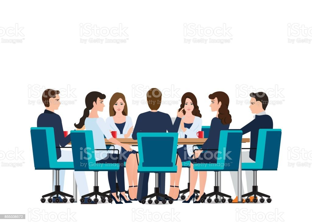 Business meeting with business people discussing on around table. vector art illustration