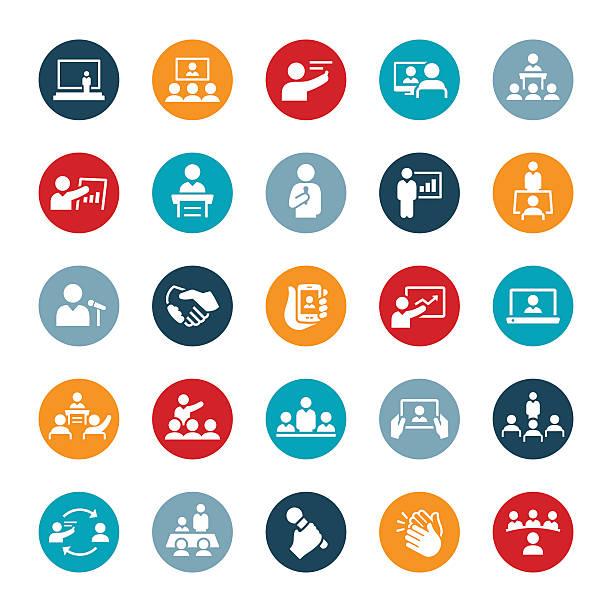 business meetings und präsentationen symbole - schultische stock-grafiken, -clipart, -cartoons und -symbole