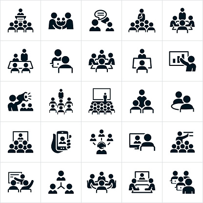 Business Meetings and Seminars Icons