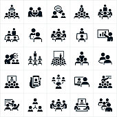 A set of icons illustrating business meetings, seminars, lectures and presentations. The icons include business meetings, presenters, employees, boardroom meetings, online meetings, small meetings, large meetings, presentations, conventions, seminars, one on one meetings, web conferences, webinars and other business type meetings.