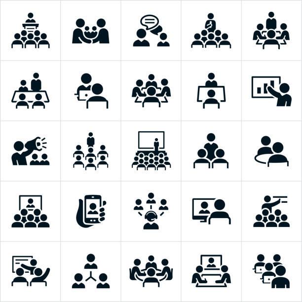비즈니스 미팅 및 세미나 아이콘 - 상징 stock illustrations