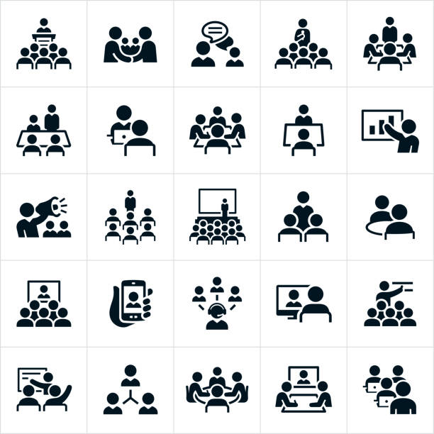 Business Meetings and Seminars Icons A set of icons illustrating business meetings, seminars, lectures and presentations. The icons include business meetings, presenters, employees, boardroom meetings, online meetings, small meetings, large meetings, presentations, conventions, seminars, one on one meetings, web conferences, webinars and other business type meetings. person icon stock illustrations