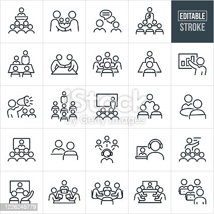 A set of business meetings and seminars icons that include editable strokes or outlines using the EPS vector file. The icons include all types of meetings, conventions and seminars and include a business person giving a speech to a group of employees, business people shaking hands, two business people engaged in an online chat, a person with microphone in hand delivering a speech to a group of people, a boardroom with business people having a business meeting, two people in a boardroom having a small business meeting, a business person giving a presentations, a business manager speaking to his employees using a bullhorn, a business person in front of a screen delivering a presentation at a convention, two business people having a meeting while out to lunch, a video conference meeting with many in attendance, a business meeting using telecommunications, business people meeting in a boardroom with their laptops and other related icons.