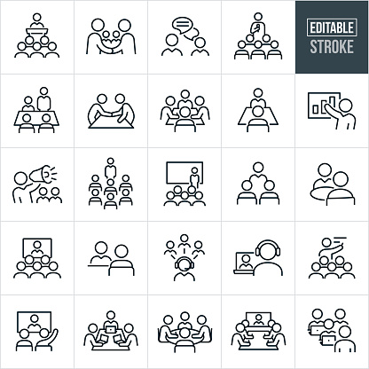 Business Meetings and Seminars Thin Line Icons - Editable Stroke