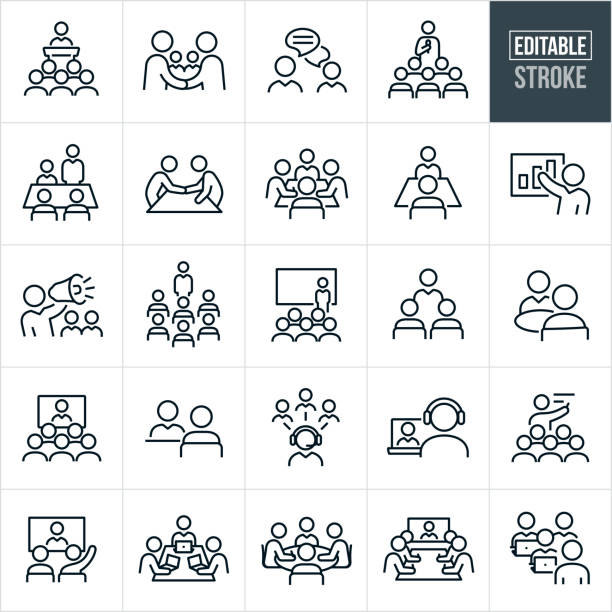 Business Meetings and Seminars Thin Line Icons - Editable Stroke A set of business meetings and seminars icons that include editable strokes or outlines using the EPS vector file. The icons include all types of meetings, conventions and seminars and include a business person giving a speech to a group of employees, business people shaking hands, two business people engaged in an online chat, a person with microphone in hand delivering a speech to a group of people, a boardroom with business people having a business meeting, two people in a boardroom having a small business meeting, a business person giving a presentations, a business manager speaking to his employees using a bullhorn, a business person in front of a screen delivering a presentation at a convention, two business people having a meeting while out to lunch, a video conference meeting with many in attendance, a business meeting using telecommunications, business people meeting in a boardroom with their laptops and other related icons. showing stock illustrations