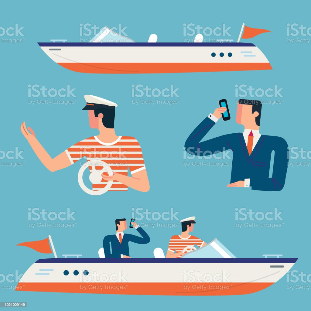Business men and boats vector art illustration