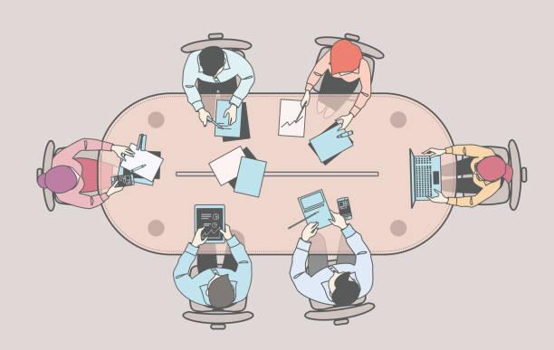 illustrazioni stock, clip art, cartoni animati e icone di tendenza di business men and women at a office meeting - business meeting, table view from above