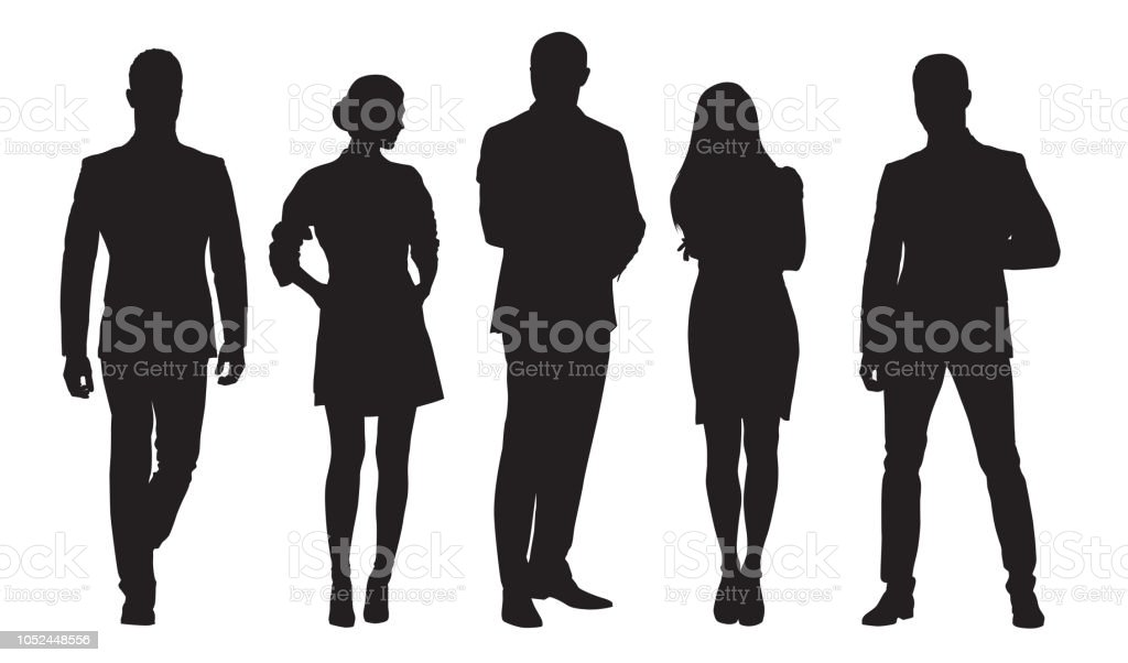 Business men and women, group of people at work. Isolated vector silhouettes royalty-free business men and women group of people at work isolated vector silhouettes stock illustration - download image now