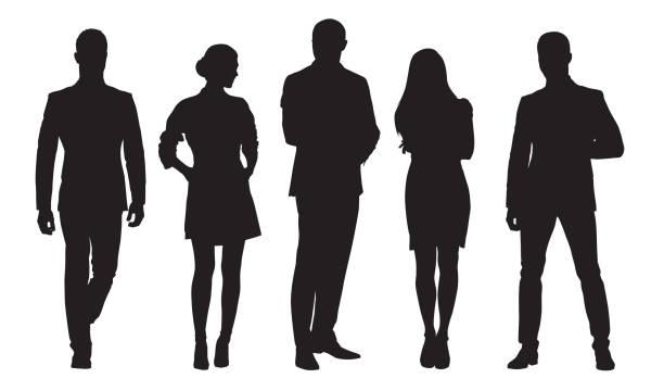 비즈니스 남녀, 직장에서 사람들의 그룹. 격리 된 벡터 실루엣 - 사람들 stock illustrations