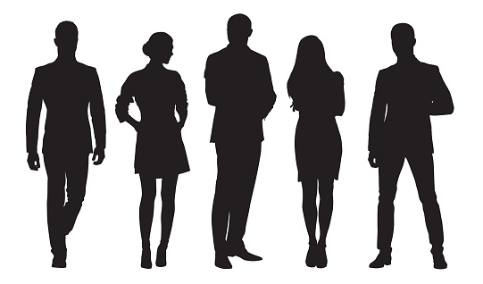 Business Men And Women Group Of People At Work Isolated Vector Silhouettes — стоковая векторная графика и другие изображения на тему Employee