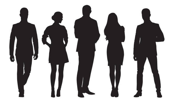 Business men and women, group of people at work. Isolated vector silhouettes vector art illustration