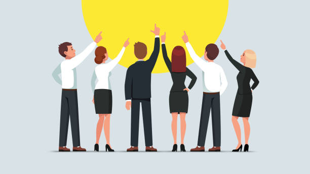 Business men and women group standing back to viewer and pointing up. Businessman and woman team pointing upwards together. Flat vector character illustration Business men and women group standing back to viewer and pointing up. Businessman and woman team pointing upwards together. Flat style isolated vector character illustration back stock illustrations