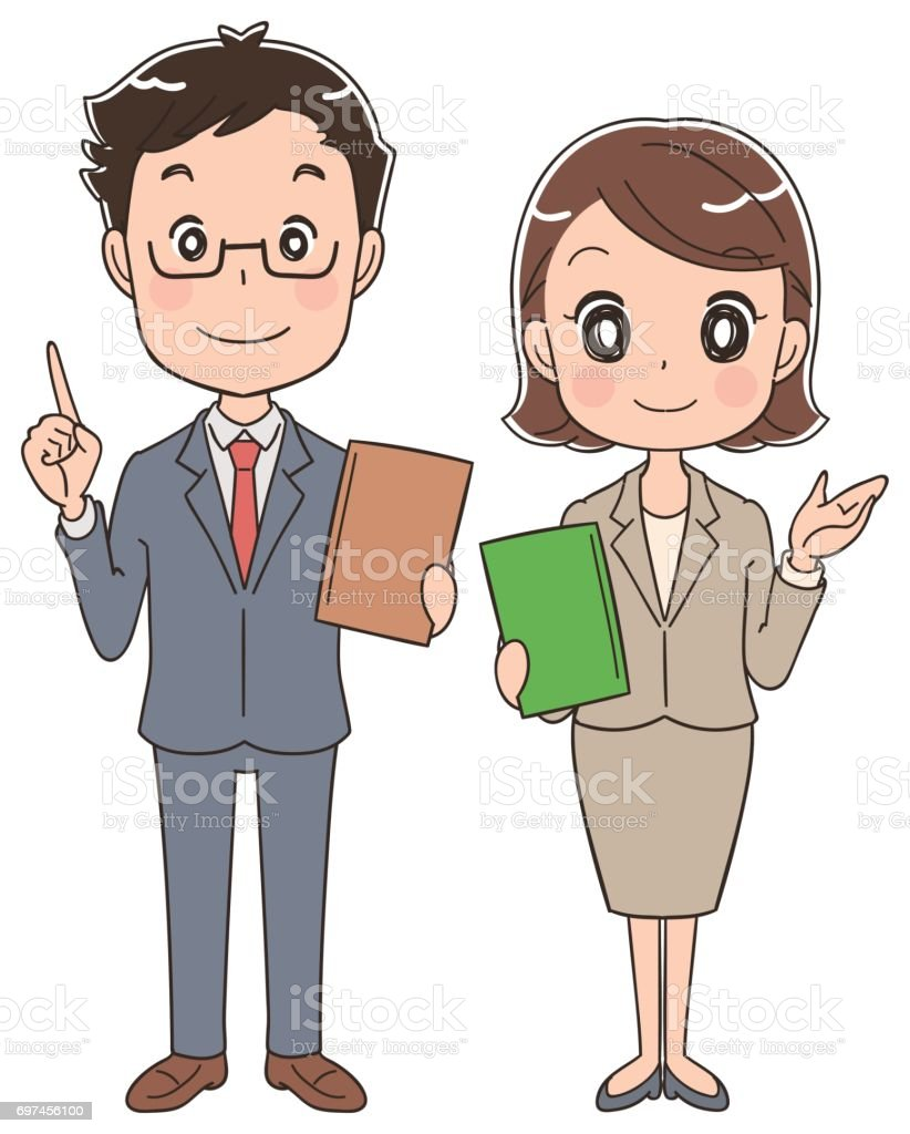 Business men and women have papers vector art illustration
