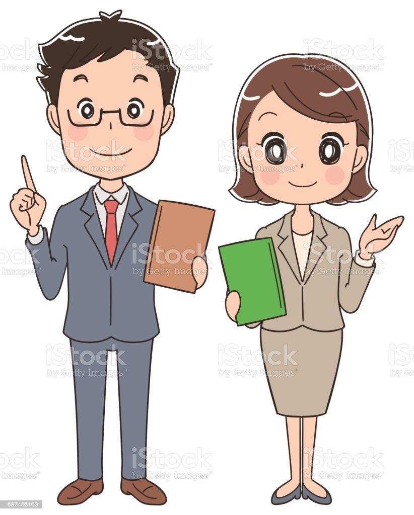 ビジネスの男性と女性が書類を持っています。 ベクターアートイラスト
