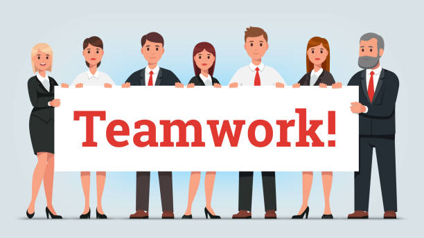 Business men and women managers team holding big teamwork banner. Businessman & businesswoman people group standing together. Flat vector character illustration Business men and women managers team holding big teamwork banner. Businessman & businesswoman people group standing together. Flat style isolated vector character illustration community clipart stock illustrations