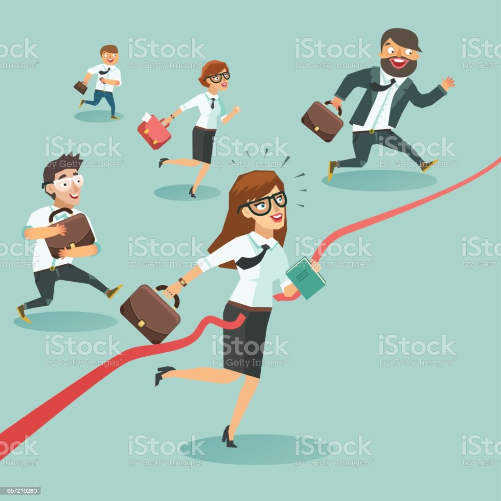 Business men and women run and cut the red ribbon or finishing line to begin a new business venture. vector art illustration