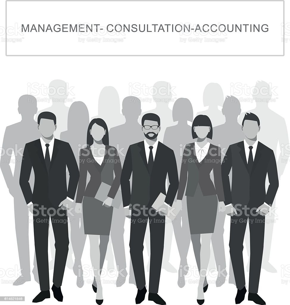 Business men and women silhouette. vector art illustration