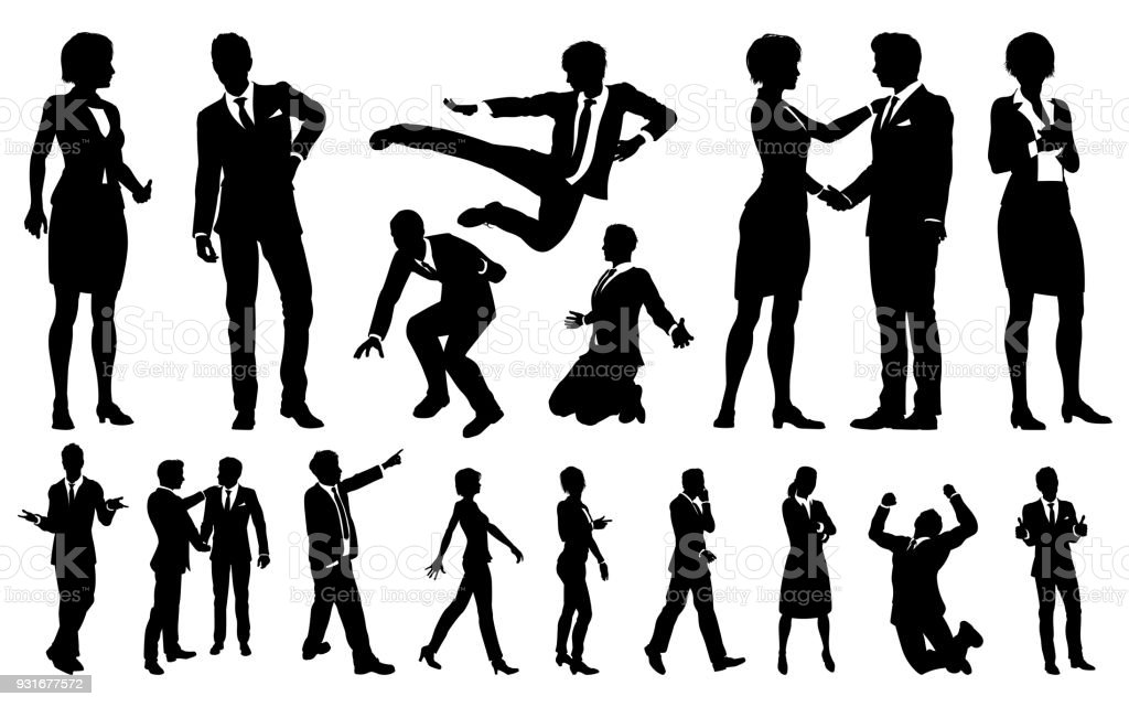 Business Men and Women Silhouettes vector art illustration
