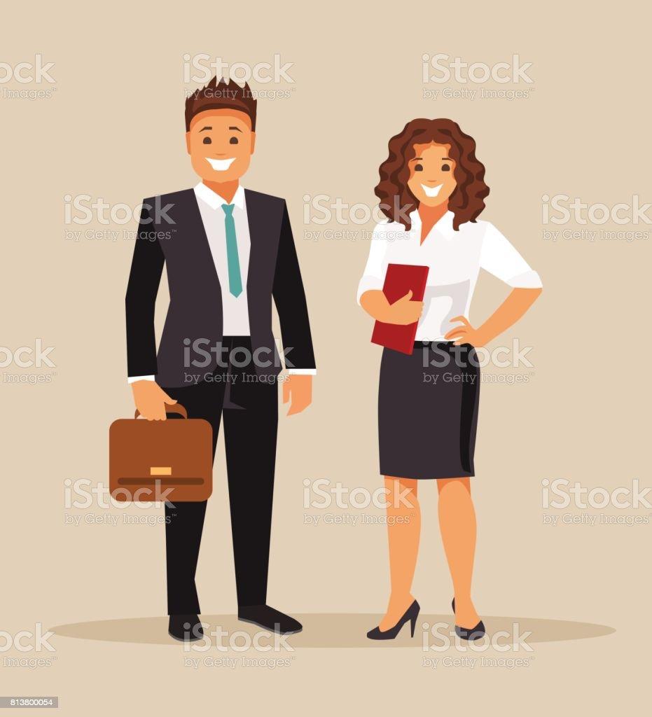 Mujeres y hombres de negocios - ilustración de arte vectorial