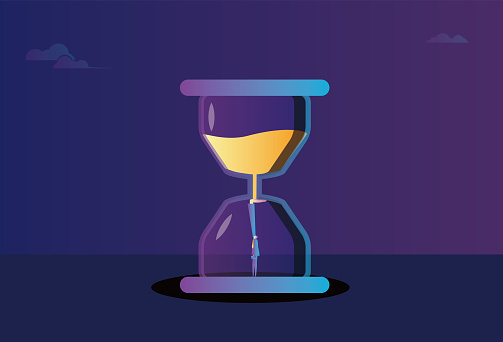business men blocked the hourglass to prevent time from passing.