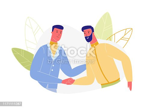 Young and Adult Business Men Characters Shaking Hands Isolated on White Background, Successful Agreement, People Introduction, Businessmen Signing Contract, Meeting. Cartoon Flat Vector Illustration