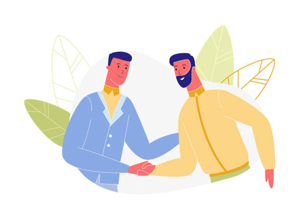 Business Men Characters Shaking Hands Isolated