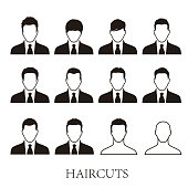 business men hairstyle icons set