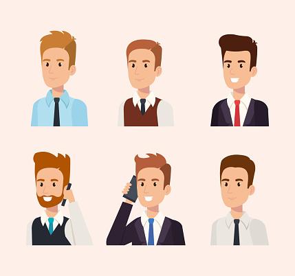 Businessmänner Isometrische Avatare Stock Vektor Art und mehr Bilder von Am Telefon