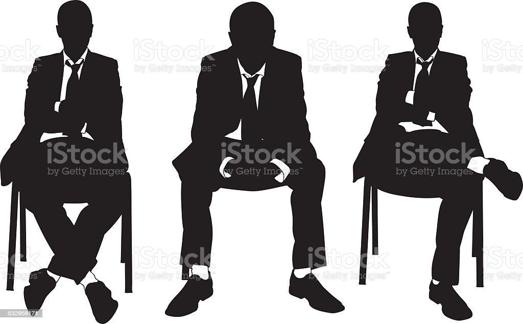 business men on chair vector art illustration