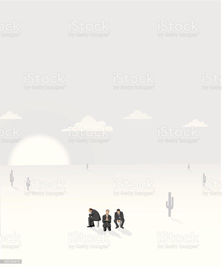 Business men on empty desert royalty-free stock vector art