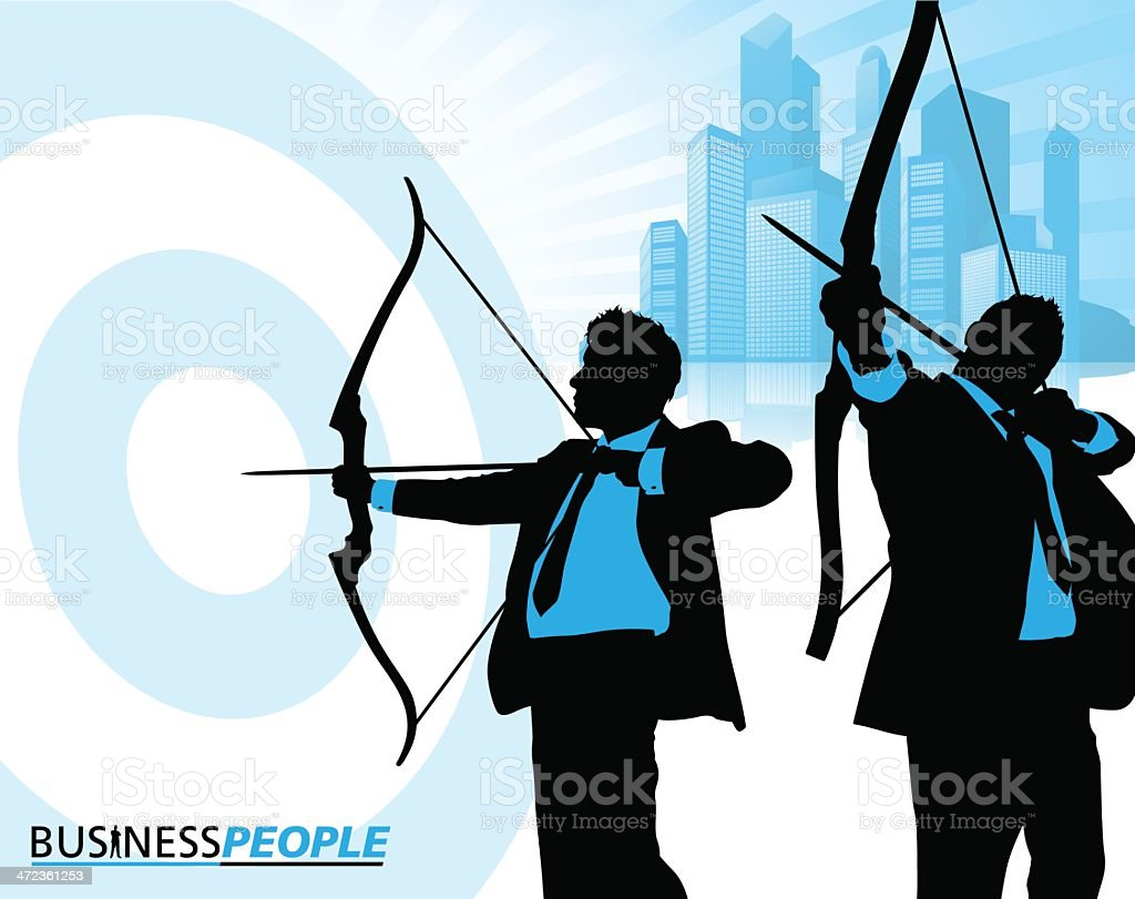 Business Men on Target royalty-free stock vector art