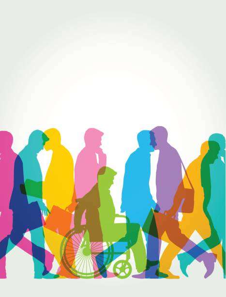Business men or commuters with wheelchair user vector art illustration
