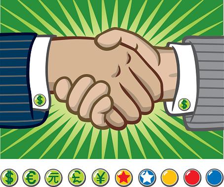Business Men Shaking Hands-vektorgrafik och fler bilder på Affärsman