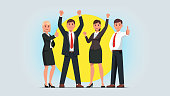 Business men & women managers team celebrating success achievement. People group standing together raising pumping clenched fists and showing thumbs up gestures. Flat isolated vector character illustration