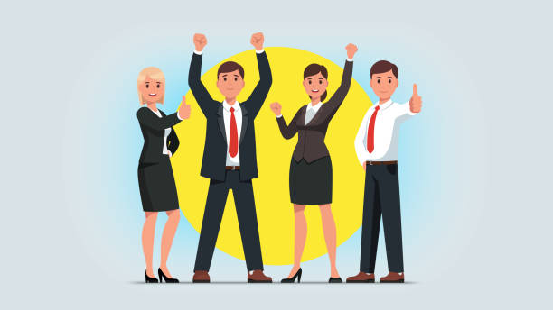 Business men & women managers team celebrating success achievement. People group standing together raising pumping clenched fists and showing thumbs up gestures. Flat isolated vector character illustration Business men & women managers team celebrating success achievement. People group standing together raising pumping clenched fists and showing thumbs up gestures. Flat vector character illustration happy boss stock illustrations