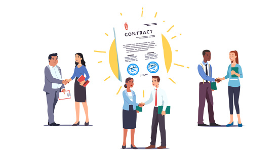 Business men & women people shaking hands over contract reaching agreement, holding signed papers set. Successful partners standing & closing deal. Partnership & handshake. Flat vector illustration