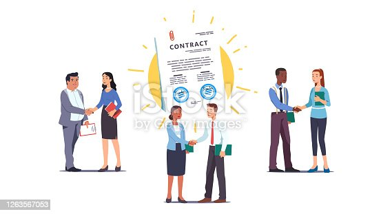 istock Business men & women people shaking hands over contract reaching agreement, holding signed papers set. Successful partners standing & closing deal. Partnership & handshake. Flat vector illustration 1263567053